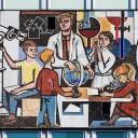 Ausschnitt aus Walter Womacka, »Unser Leben, 1964.« Mosaikfries am Haus des Lehrers, Berlin. Foto: Andreas Steinhoff, Berlin