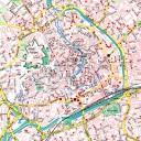 """Ausschnitt aus einem Stadtplan der Stadt Erfurt mit eingezeichneten Konspirativen Wohnungen des MfS in Erfurt. In einem Projekt des ehem. Vereins """"Gesellschaft für Zeitgeschichte"""" wurden bis 2007 die Wohnungen systematisch erfasst und kartografiert. Bildr"""