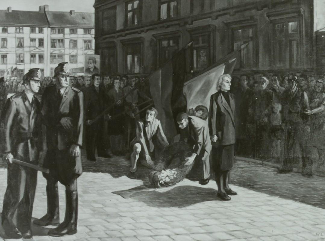 Werner Laux »Dem Parioten Philipp Müller«, Berlin 1953 (Ausgestellt auf der 3. Deutsche Kunstausstellung im Albertinum in Dresden 1953). Foto: Deutsche Fotothek Dresden