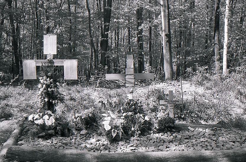 Auf einem improvisierten individuellen Trauerplatz in der NMG Buchenwald erinnern Angehörige mit Holzkreuzen und Suchlisten der Toten des Speziallagers Nr. 2, Mai 1990. Foto: Stiftung Gedenkstätten Buchenwald und Mittelbau-Dora (SGBUMD)