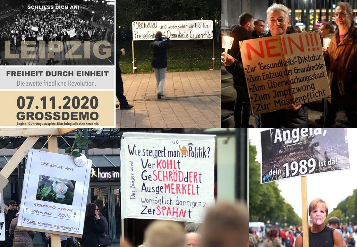 Ankündigung und Momentaufnahmen der ›Querdenken‹-Demonstration am 07. November 2020 in Leipzig. Foto: FB, LIZ, Beltower.News
